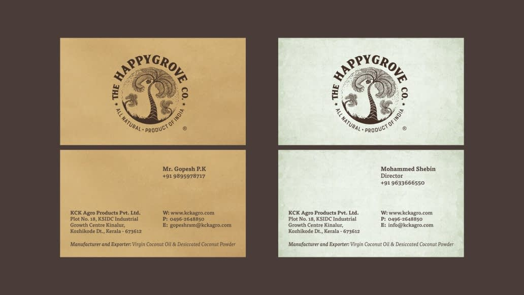 THE HAPPY GROVE CO VISITING CARD DESIGN
