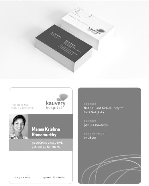 KAUVERY HOSPITALS ID CARD AND VISITING CARD DESIGN