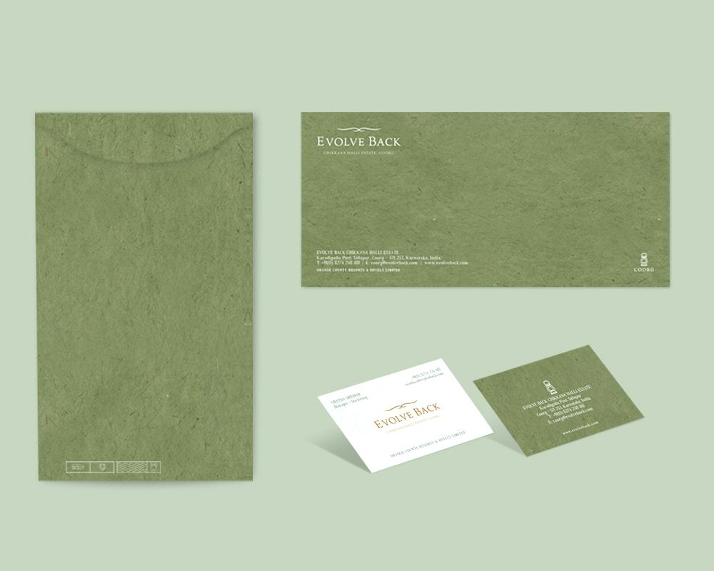EVOLVE BACK COORG V CARD AND ENVELOPE DESIGN